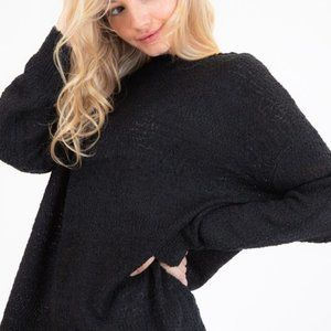 Textured  Crew Neck Sweater in Black